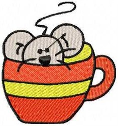 Mouse In Cup embroidery design