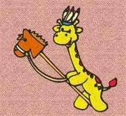 Giraffe & Toy Horse embroidery design