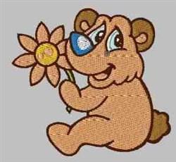 Bear & Flower embroidery design