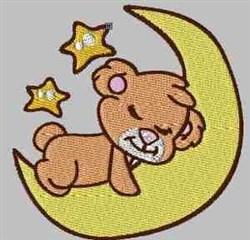 Bear On Moon embroidery design