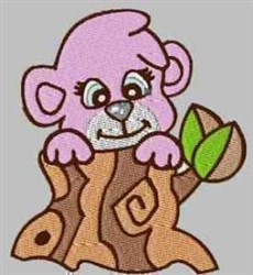 Tree Stump Bear embroidery design