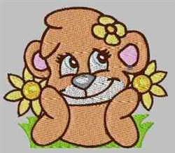 Bear In Flowers embroidery design