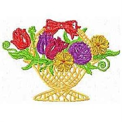 Floral Straw Basket embroidery design