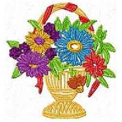 Floral Hand Basket embroidery design