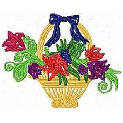 Hand Basket Flowers embroidery design
