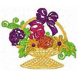 Wicker Flower Basket embroidery design