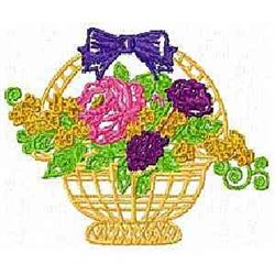 Wicker Floral Basket embroidery design