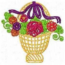 Floral Handbasket embroidery design