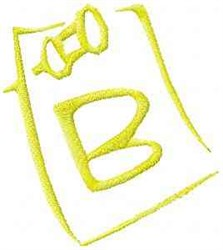 Posted Note Letter B embroidery design