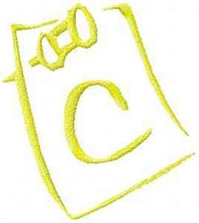 Posted Note Letter C embroidery design