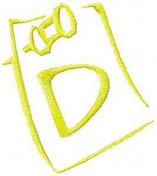 Posted Note Letter D embroidery design