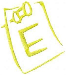 Posted Note Letter E embroidery design