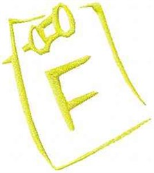 Posted Note Letter F embroidery design