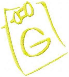Posted Note Letter G embroidery design