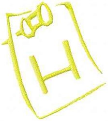 Posted Note Letter H embroidery design