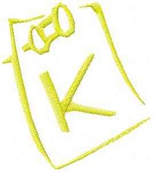 Posted Note Letter K embroidery design