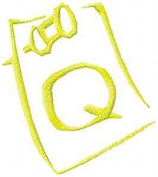 Posted Note Letter Q embroidery design