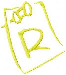 Posted Note Letter R embroidery design