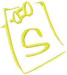 Posted Note Letter S embroidery design