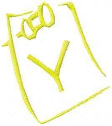 Posted Note Letter Y embroidery design