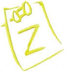 Posted Note Letter Z embroidery design