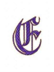 Elegant Alphabet E embroidery design