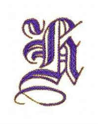 Elegant Alphabet H embroidery design