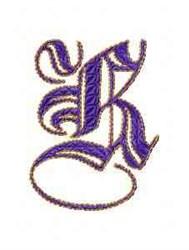 Elegant Alphabet K embroidery design