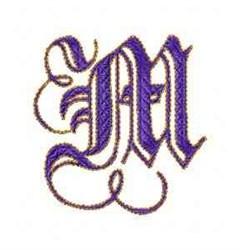 Elegant Alphabet M embroidery design
