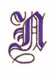 Elegant Alphabet N embroidery design