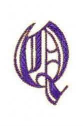 Elegant Alphabet Q embroidery design