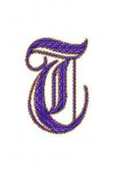 Elegant Alphabet T embroidery design