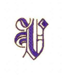 Elegant Alphabet V embroidery design