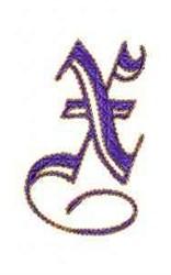 Elegant Alphabet X embroidery design