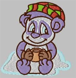 Panda With Drink embroidery design