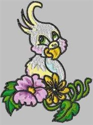 Parrot & Flowers embroidery design