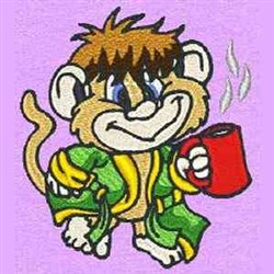 Monkey With Coffee embroidery design
