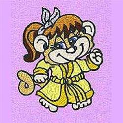 Girl Monkey embroidery design