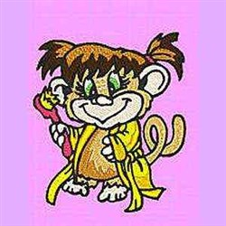 Monkey With Toothbrush embroidery design