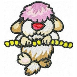 Hanging Sheepdog embroidery design