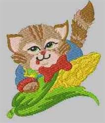 Kitten & Corn embroidery design