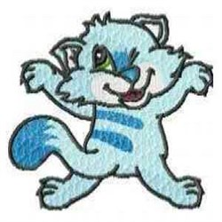 Blue Kitty embroidery design