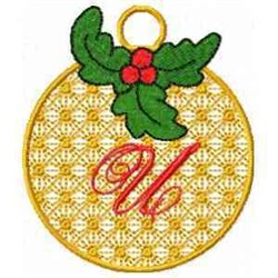 Ornament Letter U embroidery design