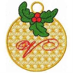 Ornament Letter V embroidery design