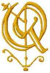 Fantasy Alphabet Q embroidery design