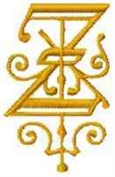 Fantasy Alphabet Z embroidery design
