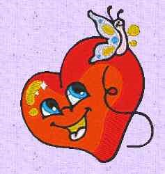 Heart Butterfly embroidery design
