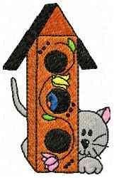 Cat Bird House embroidery design
