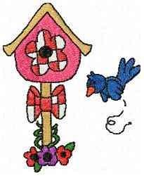 Bluejay Bird House embroidery design