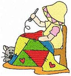 Girl Stitching embroidery design